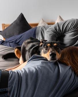 犬を保持している所有者をクローズアップ