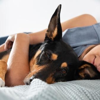 Крупным планом владелец обнимает собаку в постели
