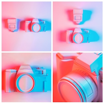 Close-up of painted camera collage against pink background