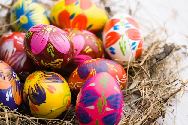 Close-up of painted eggs for easter day