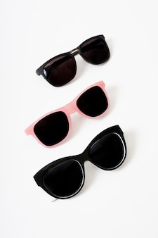 Close-up pairs of modern sunglasses