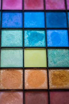 Close-up of a palette with eye shadow colors