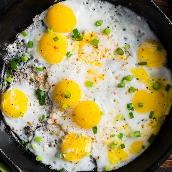 Close-up pan with fried eggs