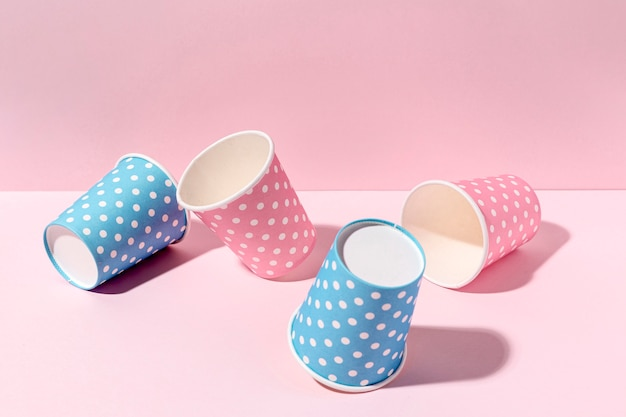 Close-up paper cups on table