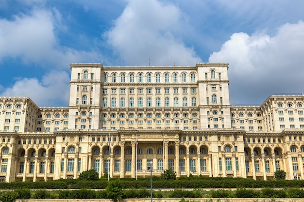 Close up on parliament of bucharest in romania