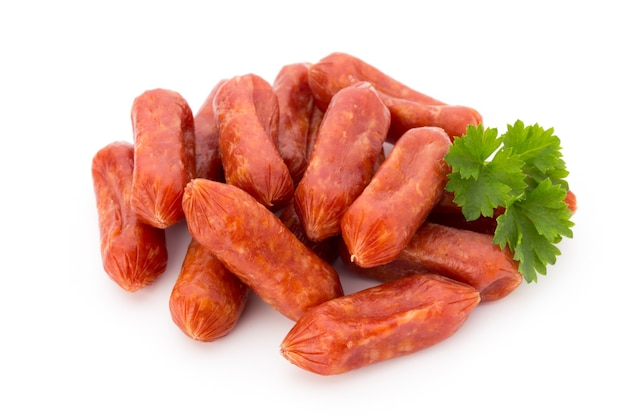 Close up on parsley leaves with sausage isolated