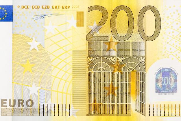 Close-up of part 200 euro banknote. hi res photo.