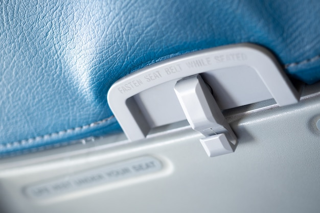 Close up passenger food tray in airplane.