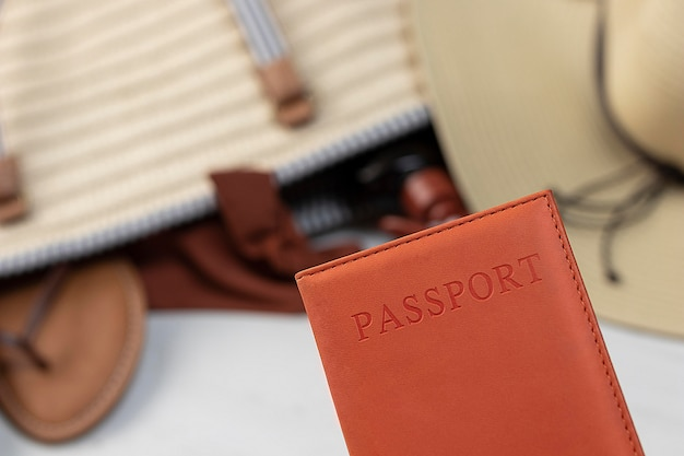 Close up passport for traveling
