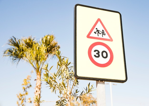 Close-up of pedestrians warning sign with 30 speed limit sign against green tree and blue sky