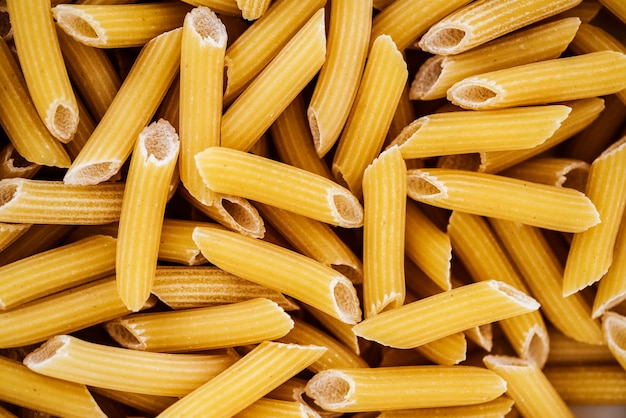 Close up of penne pasta
