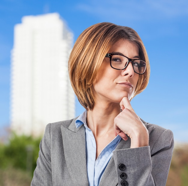 Close-up of pensive businesswoman