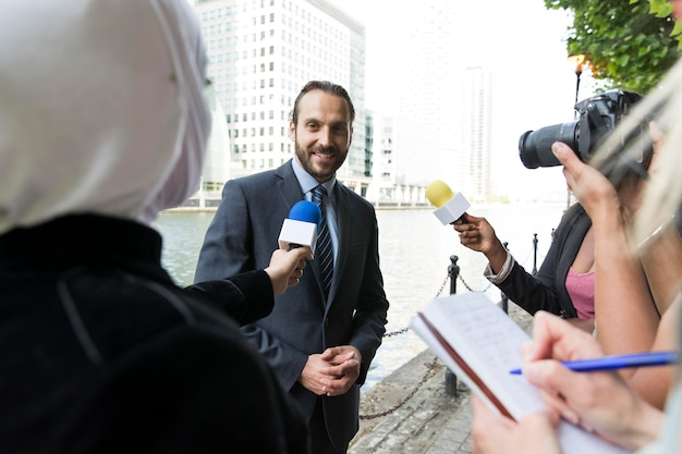 Close up on a person offering an interview