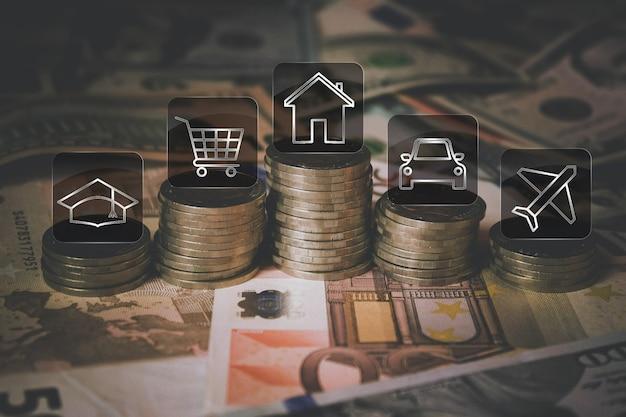 배경으로 지폐의 투시도를 닫습니다. 코인 스택, 금융 저축 또는 지출을 위한 다양한 아이콘. 돈과 금융. 돈과 절약 개념입니다. 확대.
