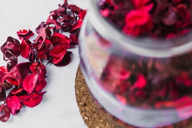 Close-up petals near jar
