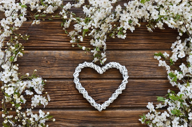 Close-up photo of beautiful white flowering cherry tree branches with white heart shape.