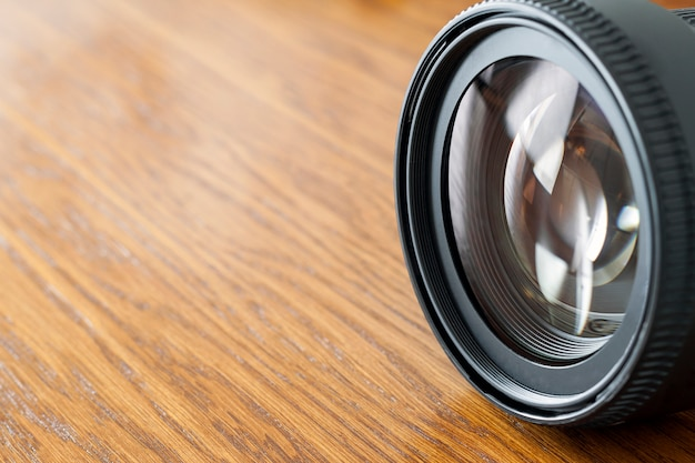Close-up of photo camera objective lens