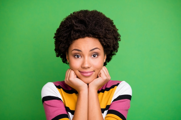 Close up photo of charming cute sweet afro american girl feel thankful about her autumn fall weekends wear good look outfit