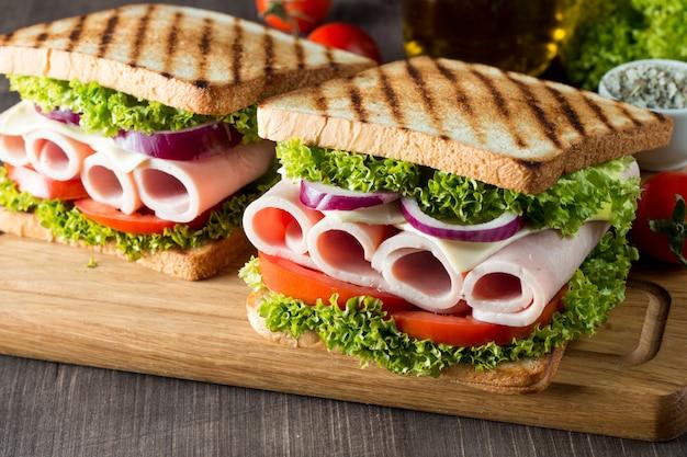 Close-up photo of a club sandwich.