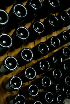 Close up photo of dark bottles of wine laying underground, winery autumn concept