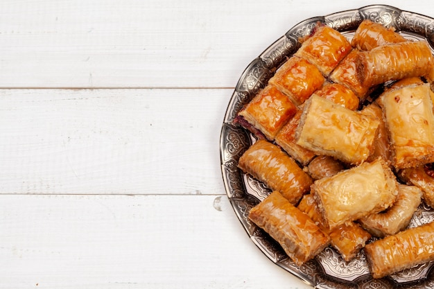 Close up photo of delicious turkish baklava served on a plate