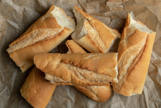 Close up photo of freshly baked bread slices.