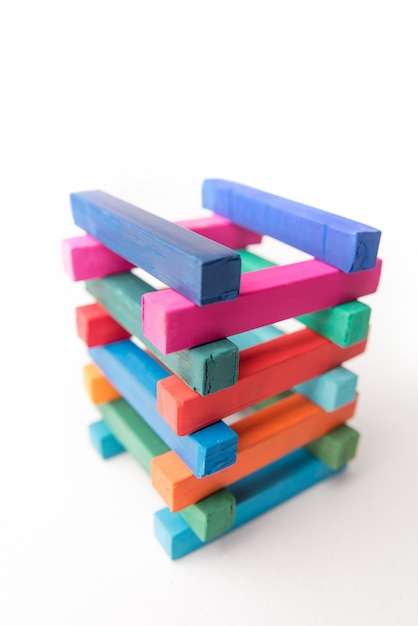 Close up photo of hight colorful chalks tower