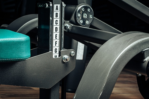 Close up photo of new gym equipment