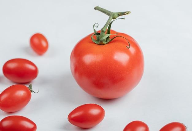 白い背景の上のトマトの写真を閉じます。高品質の写真