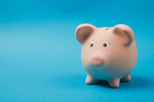 Close up photo of pink piggy money bank isolated on bright blue wall background. money accumulation, investment, banking or business services, wealth concept. copy space advertising mock up.