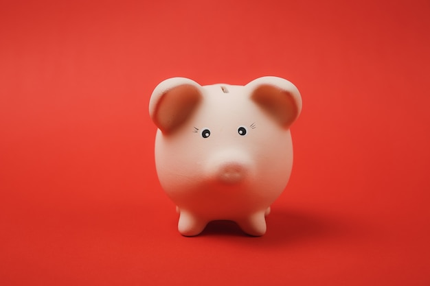 Close up photo of pink piggy money bank isolated on bright red wall background. money accumulation, investment, banking or business services, wealth concept. copy space advertising mock up.