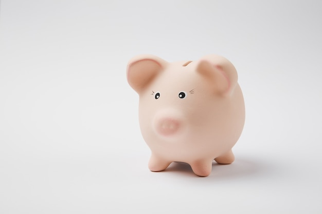 Close up photo of pink rose piggy money bank isolated on white wall background. money accumulation, investment, banking or business services, wealth concept. copy space advertising mock up.