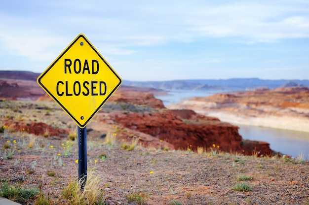 Close up photo of road closed sign in usa