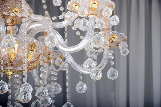 Close-up photo of the scenery on the old chandelier