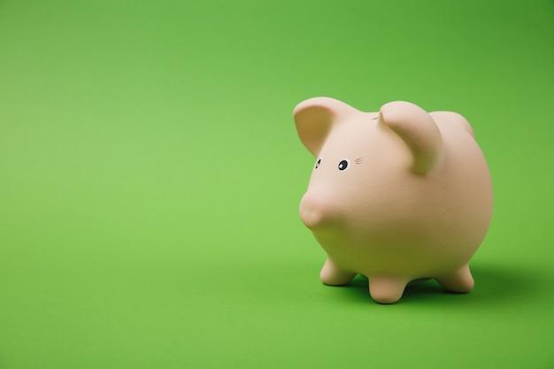 밝은 녹색 벽 배경에 격리된 분홍색 돼지 저금통의 사진 측면 보기를 닫습니다. 돈 축적 투자, 은행 또는 비즈니스 서비스, 부의 개념. 공간 광고를 조롱하십시오.