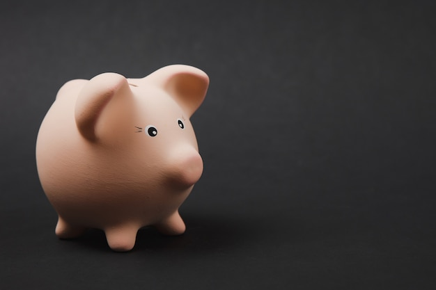 Close up photo side view of pink piggy money bank isolated on black wall background. money accumulation, investment, banking or business services, wealth concept. copy space advertising mock up.