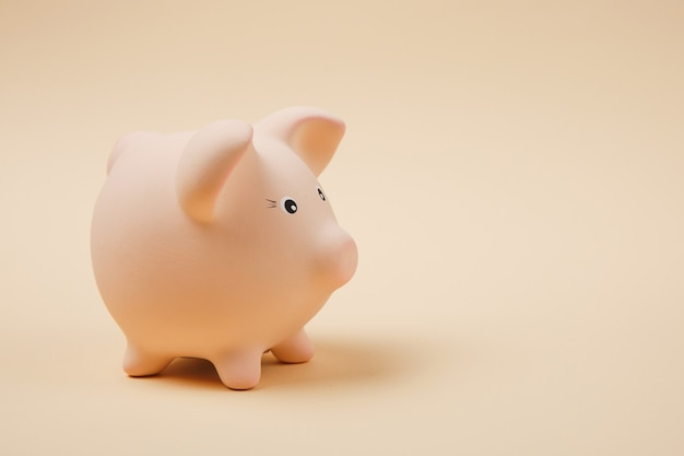 Close up photo side view of pink piggy money bank isolated on pastel beige wall background. money accumulation investment, banking or business services, wealth concept. copy space advertising mock up.