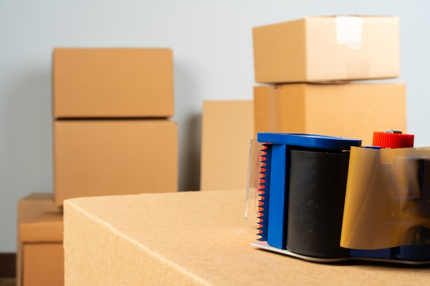 Close up photo of a stack of moving boxes