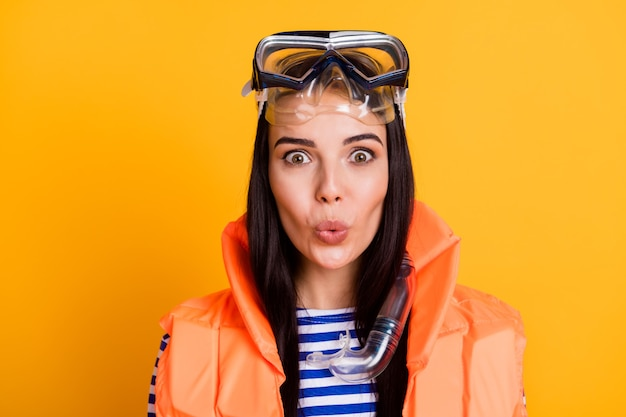 Close up photo of surprised girl tourist impressed life guard work rescue tourism people wear goggles mask tube vest striped shirt blue white isolated over bright shine color background