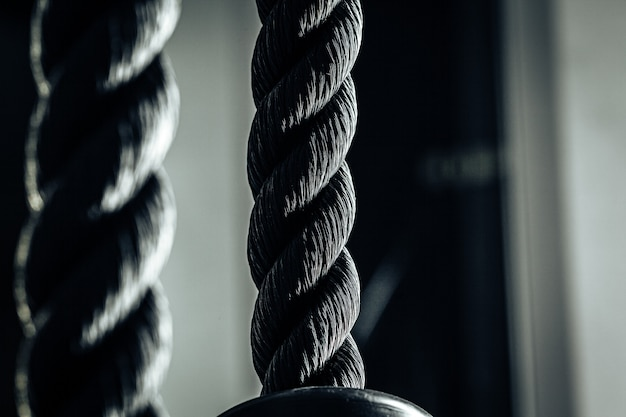 Close up photo of a tricep rope gym equipment