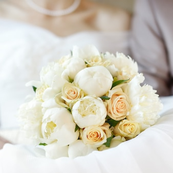Close up photo of wedding flowers bouquet