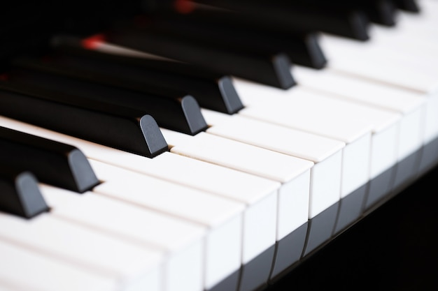 Close up of piano keyboard with selective focus keys