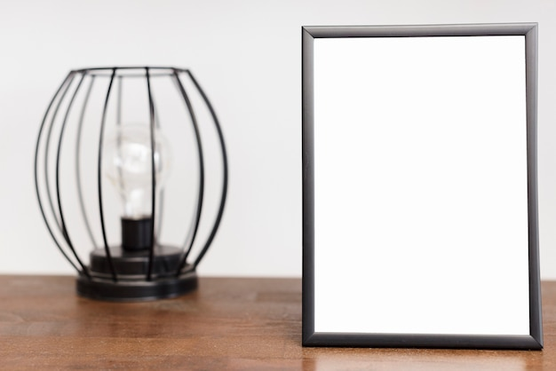Close-up picture frame with modern light