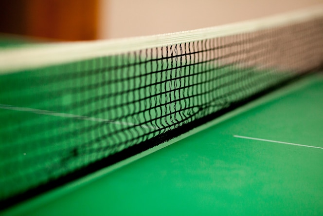 Close up ping pong net and line - green table