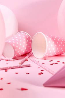 Close-up pink decorations on table