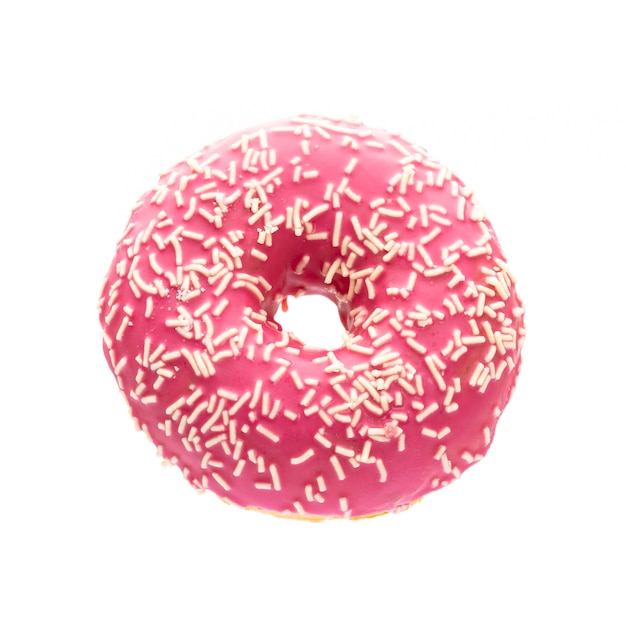 Close up pink donut with sprinkles
