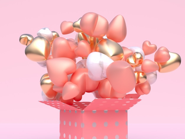 Close up pink gold white metallic glossy balloon heart shape levitation pink gift box open abstract valentine concept 3d rendering