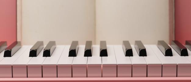 핑크 피아노 키보드, 현대 피아노 디자인, 클래식 악기, 3d 렌더링, 3d 그림을 닫습니다
