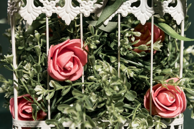 Close up pink roses in cage