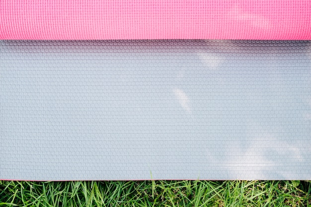 Close-up pink yoga mat texture